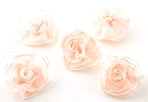 Angel Malone 10 x PEACH & WHITE Organza Flower Embellishments. Great for all your Crafts: Card Making, Scrapbooking, Sewing, Wedding Favours & Lots more...