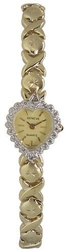 Geneve 14k Gold Diamond Heart Shaped Watch XOXO Band - W1676-S