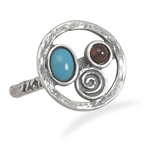 Sterling Silver Oxidized Multistone Ring / Size 7