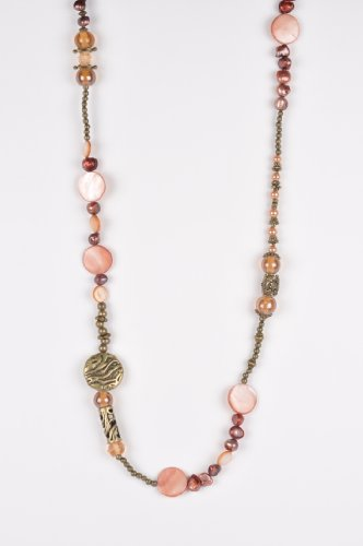 Long Beaded Necklace in Peach and Old Gold Tones Handmade in Africa