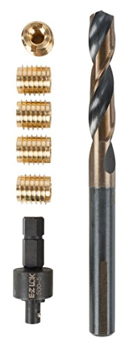 E-Z LOK 400-4 Threaded Inserts for Wood, Installation Kit, Brass, Includes 1/4-20 Knife Thread Inserts (5), Drill, Installation Tool (Threaded Insert Wood compare prices)