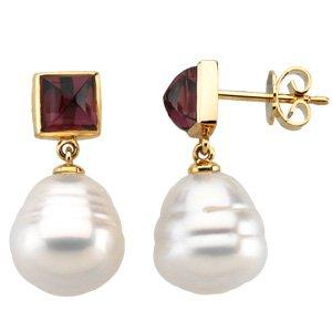 14k Gold S. Sea Cult. Pearl Garnet Earring 6mm 12mm - JewelryWeb