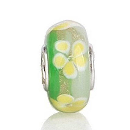 Everbling Yellow Flower Murano Glass 925 Sterling Silver Charm Bead Fit European Pandora Charms Bracelet