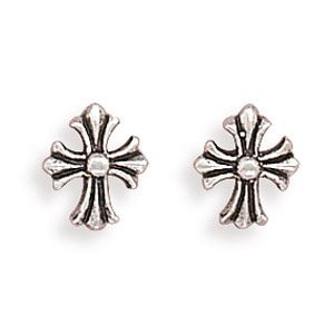 Sterling Silver Small Oxidized Cross Post Earrings