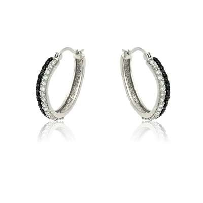 New Fashion Earrings 925 Sterling Silver and Black Plating with Single-Line Black and Clear CZ Hoop (WoW !With Purchase Over $50 Receive A Marcrame Bracelet Free)