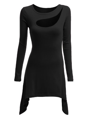 Doublju Womens Knit Tunics  Unbalanced Hem Line