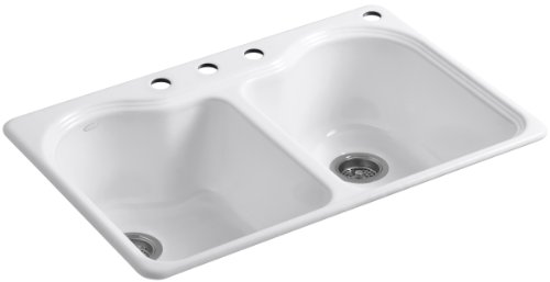 KOHLER K-5818-4-0 Hartland Self-Rimming Kitchen Sink with Four-Hole Faucet Drilling, White (Cast Iron Sinks Kitchen compare prices)