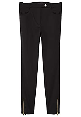 VIOLETA (Plus Size) - Zip cotton Slim trousers