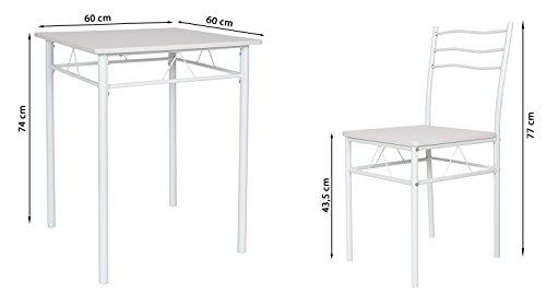 ts ideen 3er set essgruppe tisch st hle esstisch k chentisch alugestell wei tisch 60 x 60 cm. Black Bedroom Furniture Sets. Home Design Ideas