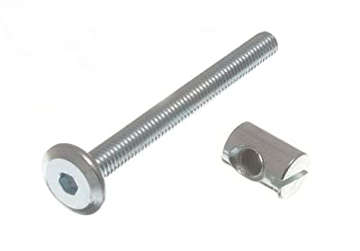 FURNITURE COT BED BOLT ALLEN HEAD WITH BARREL NUT 6MM M6 X 60MM ZP (pack of 10 )