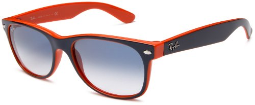 Ray-Ban RB2132 New Wayfarer Sunglasses, Top Blue Orange Frame/Blue Gradient Lens, 55 mm