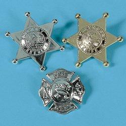DEPUTY AND FIREFIGHTER BADGES (1 DOZEN) - BULK