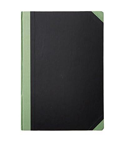 Life Co., Ltd. Crosshatch Paperboard A4 Ruled Notebook, Black/Green