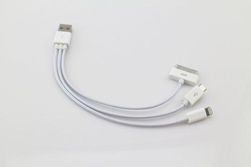 iPhone5対応 Lightning、MicroUSB、ipodも 3in1マルチUSB充電ケーブル ライトニング(iPhone5/iPad mini/iPad Retina)/30pinDock(旧世代iPhone・iPad)/マイクロUSB(Wifiルーター等)に1本で対応可能> ホワイト 51-1