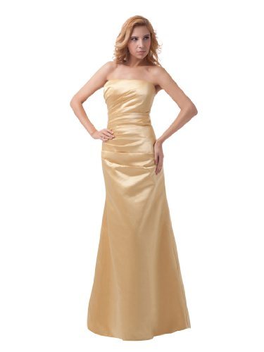 Topwedding Strapless Princess Satin Floor Length Evening Dress