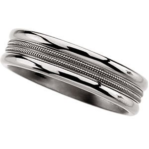 6.00mm Titanium Double Milgrain Band, Size 12