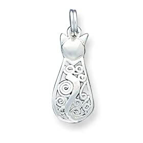 Sterling Silver Fancy Cat Charm with 20 inch Sterling Silver Chain