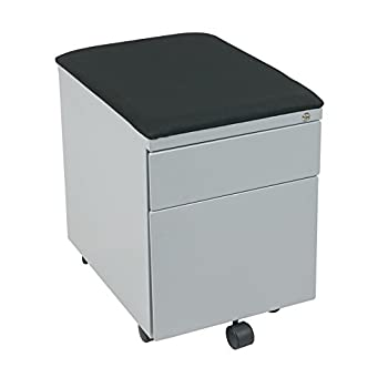 Office Star Mobile File with Padded Seat, Grey