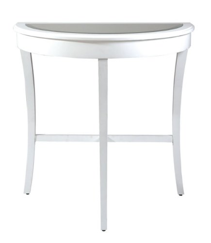 Cheap 30″ Elegant Half Moon Beveled Mirror Top White Console Table (B002HF7TV4)