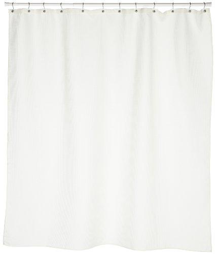 Carnation Home Fashions Waffle Weave Fabric Shower Curtain, Ivory