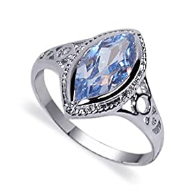 Sterling Silver Band Blue Topaz Gemstone Ring