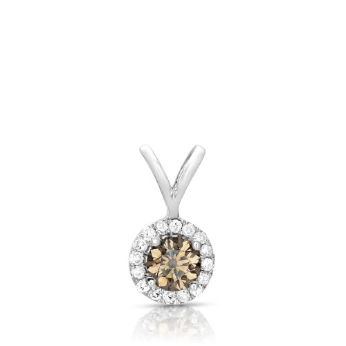0.50ct Chocolate Brown Diamond Solitaire Pendant Necklace 14k White Gold (Color – G-H, Clarity – SI2 – I1)