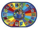"Joy Carpets Kid Essentials Language & Literacy Oval Read All About It Rug, Multicolored, 10'9"" x 13'2"""