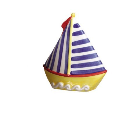 Sailboat Coin Bank, Yellow Hull with Blue Striped Mast - 1