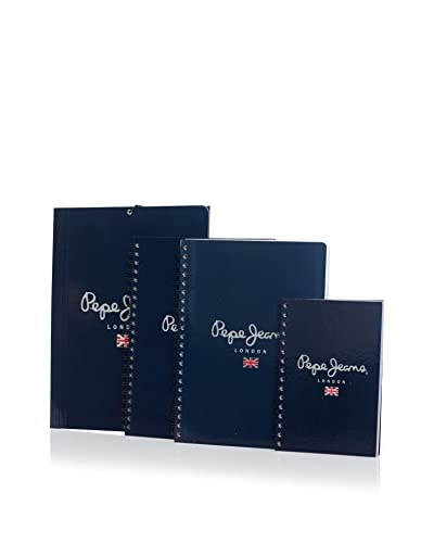 Pepe Jeans Carpeta + 3 Cuadernos Logo Negro
