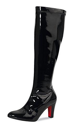 Damen Stiefel Lack Schwarz latex