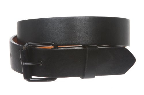 "Kids 1"" Snap On Plain Leather Belt Size: M - 24"" Color: Black"