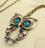 SODIAL- Vintage style colorful Owl charm necklace