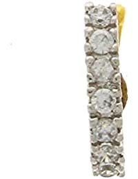 Anuradha Art Silver-Gold Colored American Diamond Stud Nose Ring For Women/Girls