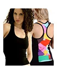Margarita Activewear Black Top with Patches of Color