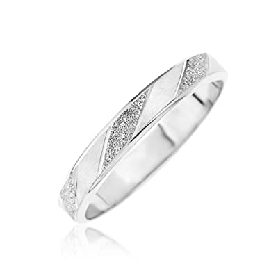 Kareco 9ct White Gold Frosted Diamond Cut 3mm Band Ring