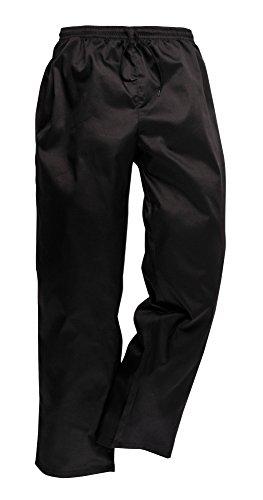 Portwest C070BKRXL Pantaloni da Chef Drawstring, Nero, XL