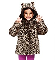 Hooded Faux Fur Animal Print Coat