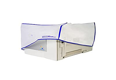 Computer Dust Solutions Printer Dust Cover-Covers Inkjet or Laser Printers-Silky Smooth Antistatic Vinyl-Translucent Coconut Cream Color with Blue Trim-Several Sizes Available, (16W x12H x16D)
