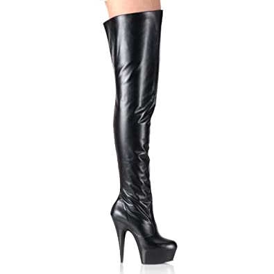 5 3/4 Inch Sexy Leather Thigh High Boot Platform Spike Heel Side Zip
