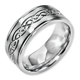 Genuine IceCarats Designer Jewelry Gift Stainless Steel Scroll Design 9Mm Brushed & Polished Band Size 10.00