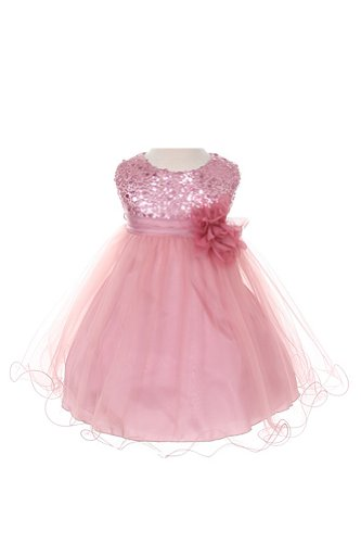 Sequin & Tulle Special Occasion Holiday Dress - Dusty Rose Baby L (12-18 Month) front-883594