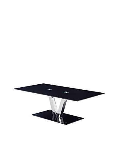 Luxury Home Modern Tempered Glass Coffee Table, Black