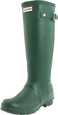 Hunter Original Tall Welly Boot,Green/Green,Women's 5 M/Men's 4 M