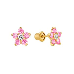14K Yellow Gold Pink Daisy Flower Stud Earrings for Little Girls & Babies