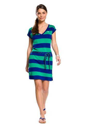 Cap Sleeve Cotton Bold Stripe Sweater Dress