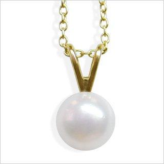 6mm White Single V Japanese Akoya Cultured Pearl Pendant