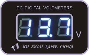 ブルーLED デジタル 電圧計 【埋込み用】 測定範囲6~30V 2線式