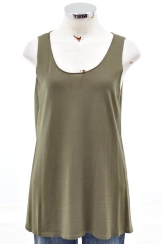 Eileen Fisher Caper Green Fine Merino Knit Tank Shirt