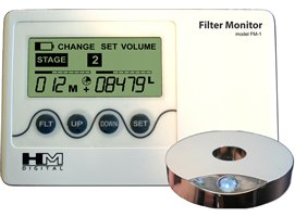 Hm Digital Fm-2 Filter Monitor With 5-State Volumizer And Timer, Flow Sensor And Filter Indicator Disc, +/- 1% Accuracy