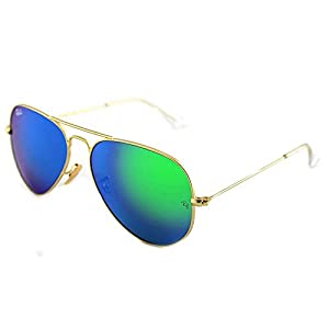 Ray-Ban Aviator Large Metal Light Mirrored Sunglasses, MATTE GOLD FRAME / CRYSTAL GREEN MIRROR MULTILAYER GREEN LENS, 55 mm